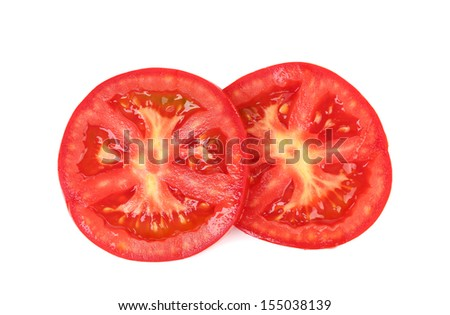 Fresh slices tomato on white background - stock photo