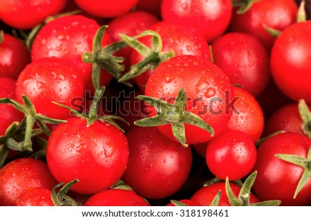 Fresh small red cherry tomatoes with drops close-up - stock photo