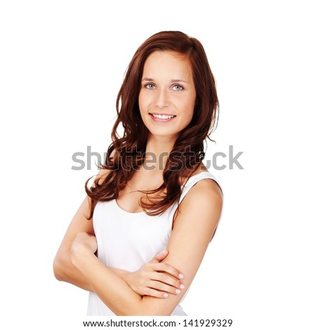 Fresh smiling female posing with arms crossed - stock photo