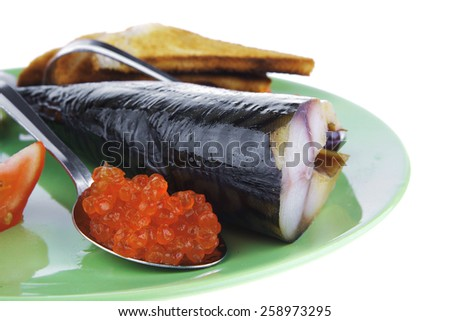 fresh smoked fish on plate with caviar and toast - stock photo