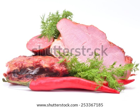 Fresh  smoked meat with spices - stock photo