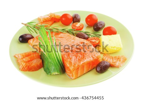 fresh smoked red fish fillet on plate and rosemary - stock photo