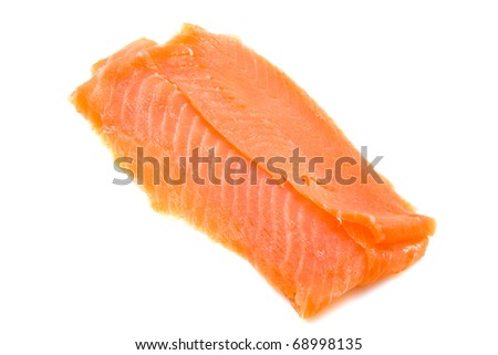 Fresh smoked salmon fillet isolated over white