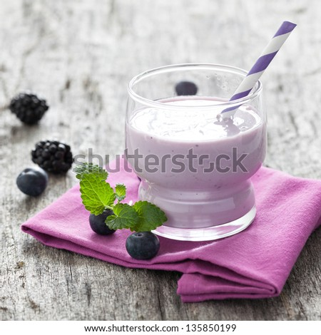 fresh smoothie with blueberries - stock photo