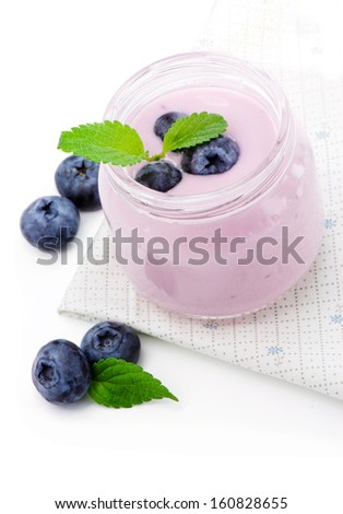 Fresh smoothie with blueberries and mint - stock photo