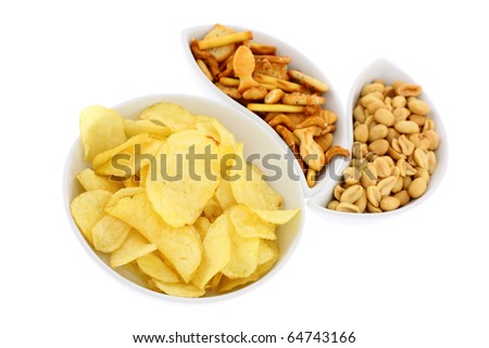 Fresh snacks isolated on white background. Intentional shallow depth of field. Focus on the foreground. Studio work. - stock photo