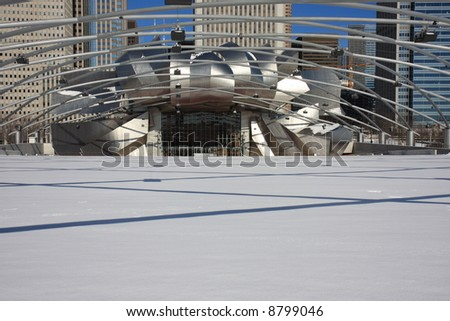 Fresh Snow on an Outdoor Amphitheater in Downtown Chicago - stock photo