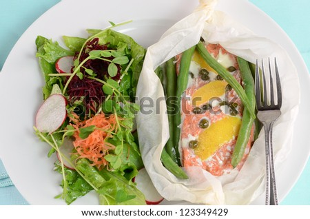 Fresh sockeye salmon poached in parchment with lemon, capers, green beans and salad greens - stock photo
