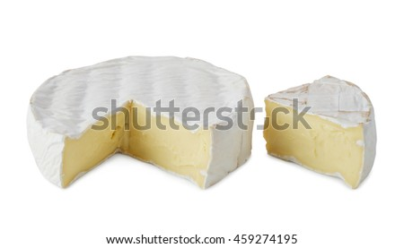 Fresh  soft  brie cheese  isolated on a white background