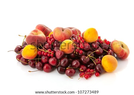 Fresh soft fruit with cherries apricots, red currants and wild peaches