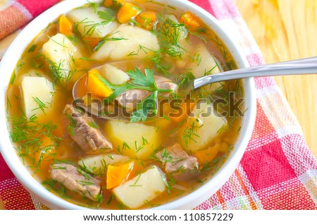fresh soup - stock photo