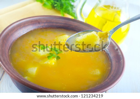 fresh soup from corn and carrot