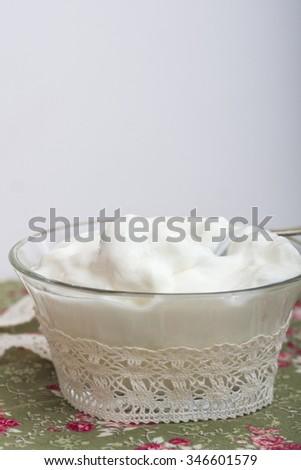 Fresh sour cream. Selective focus - stock photo