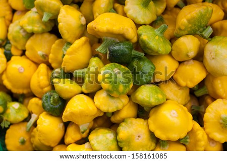 Fresh Spaceship Squash at Farmers market - stock photo