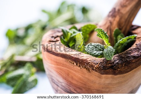 Fresh spearmint herb in wooden rustic mortar on wooden table - stock photo