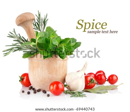 fresh spice and vegetables isolated on white background - stock photo