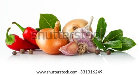 Fresh spice with garlic bay leaf. Isolated on white background. Illustration - stock photo