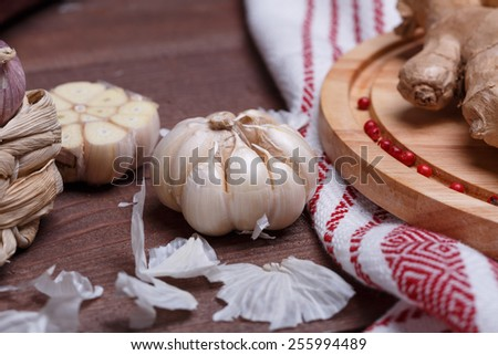 fresh spices on a desk - stock photo