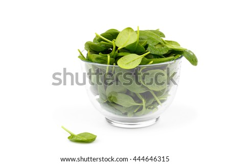 Fresh spinach in a bowl isolated over white, close up, selective focus