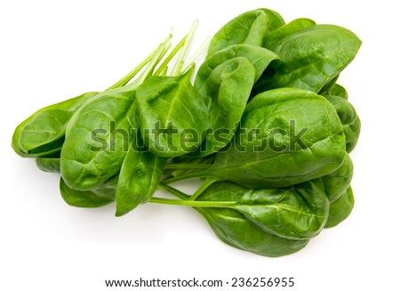 Fresh spinach leaves on a white background seen from above - stock photo