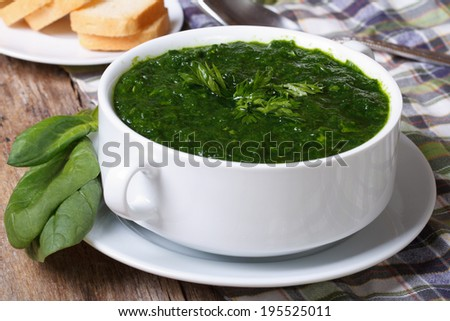 Fresh spinach soup with croutons close up on the table. horizontal  - stock photo