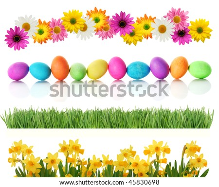 Fresh spring and Easter borders isolated on white. Eggs, daisies, daffodils, and green grass. - stock photo