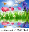 Fresh spring grass with flower and butterflies - stock photo