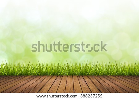 Fresh spring grass with green nature blurred background and wooden floor, use for natural spring concept