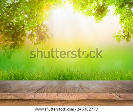 Fresh spring green grass and wood floor with green leaf , Summer time - stock photo