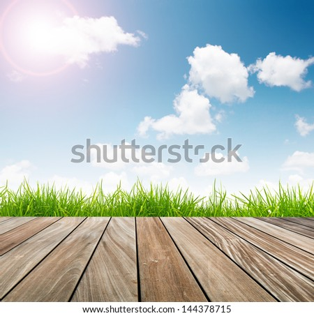 Fresh spring green grass with blue sky and wooden floor with sun light - stock photo