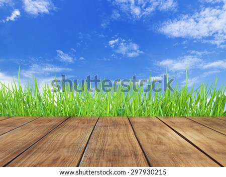 Fresh spring green grass with sky background and wooden floor  - stock photo