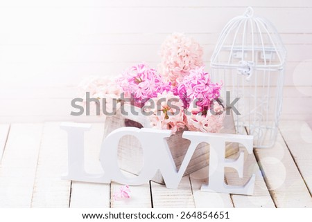 Fresh spring hyacinths flowers in box and word love in ray of light  on white wooden background. Selective focus.