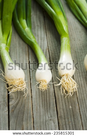 fresh spring onions with root on wooden table