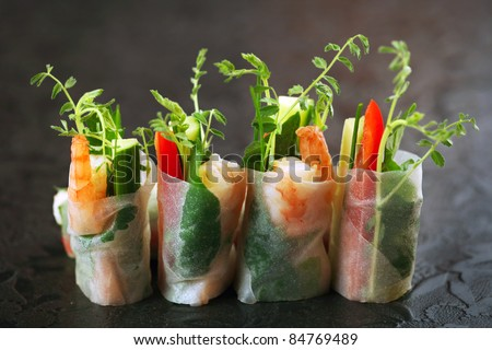 fresh spring rolls - stock photo