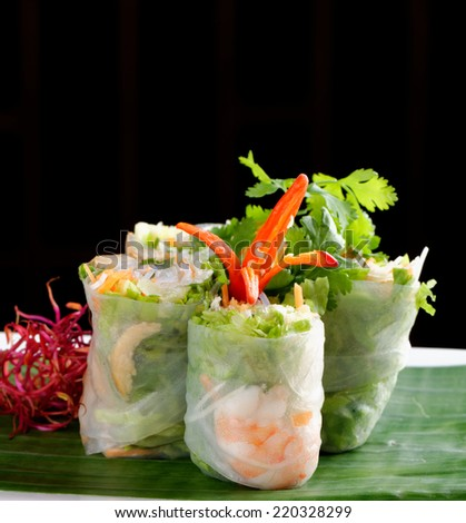 Fresh Spring Rolls, Vietnamese Food - stock photo