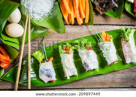 Fresh spring rolls with vegetables - stock photo
