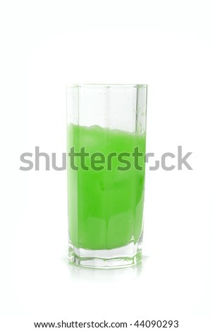 Fresh squeezed green lime juice isolated on a white background - stock photo