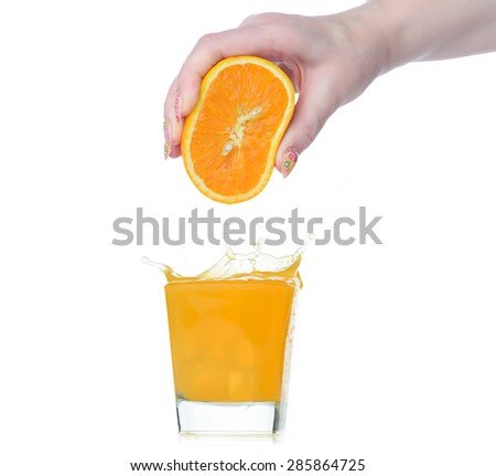 Fresh squeezed orange juice isolated on white background