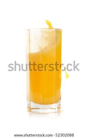 Fresh squeezed pouring citrus juice with fruits isolated on a white background