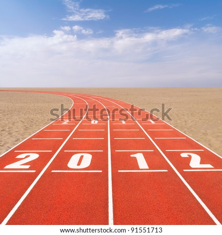 Fresh start concept with running track in landscape - stock photo