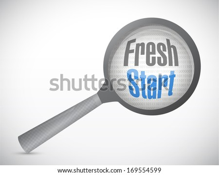 fresh start magnify glass illustration design over a white background - stock photo