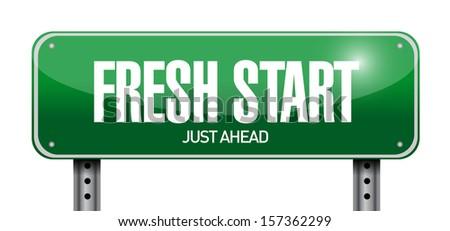 fresh start road sign illustration design over a white background - stock photo