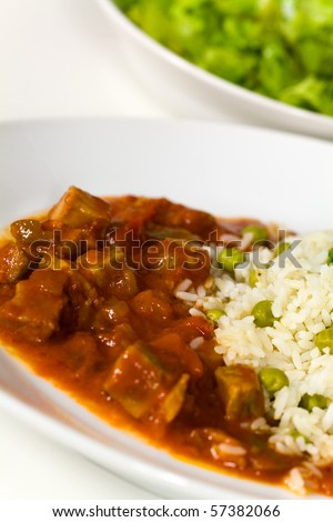 fresh stew of beef and pork with rice - stock photo