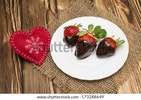 Chocolate Strawberry Gateaux Serving Slice Reflection