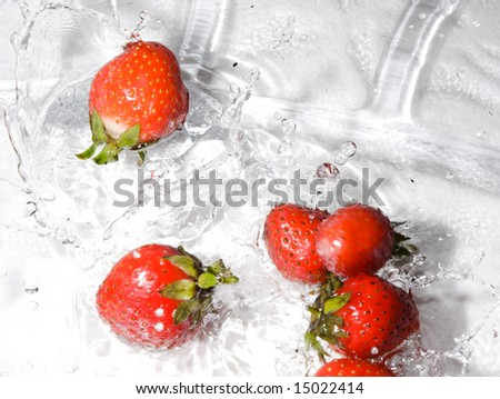 Fresh strawberries dropping into water. Studio shot.