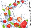 Fresh strawberries falling in water splash, isolated on white background - stock photo