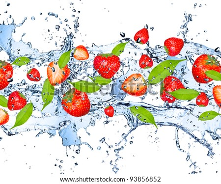 Fresh strawberries falling in water splash, isolated on white background