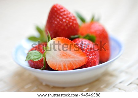 Fresh strawberries in a saucer. - stock photo