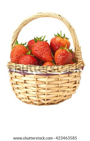 Fresh strawberries in basket isolated on white background - stock photo