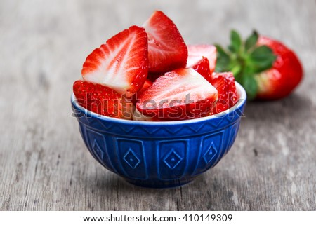 Fresh strawberries  in bowl. concept for healthy eating - stock photo